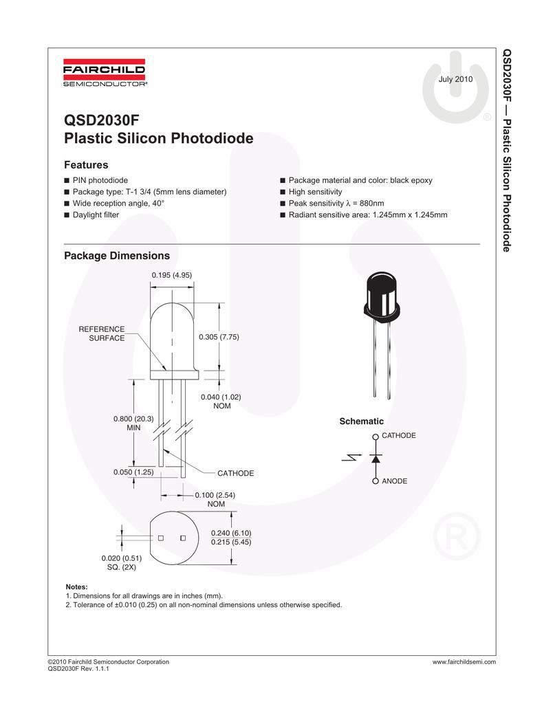 QSD2030F Plastic Silicon Photodiode
