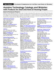 Assistive Technology Catalogs and Websites with Products for Deaf