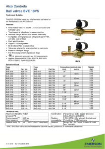 Alco BVE Ball Valve Data Sheet