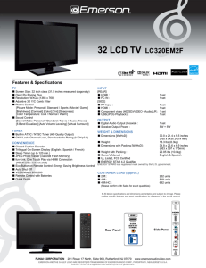 32 LCD TV LC320EM2F - Funai Service Corporation