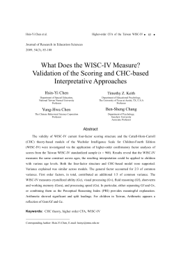 What Does the WISC-IV Measure? Validation of the Scoring and