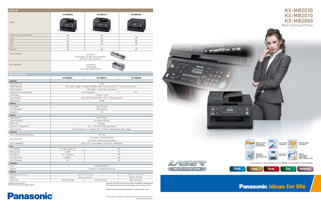 Panasonic KX-MB2010 Multi-Function Station Device Monitor 64 Bit