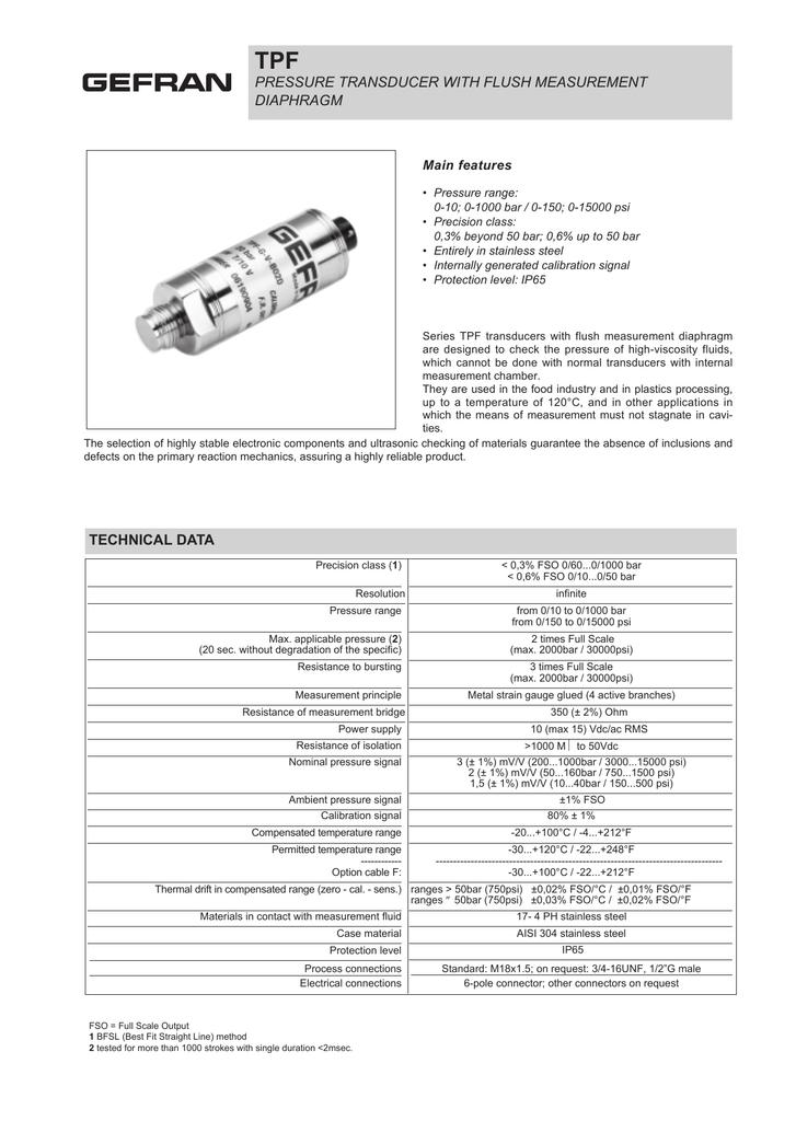 Pressure Transducer With Flush Measurement Diaphragm