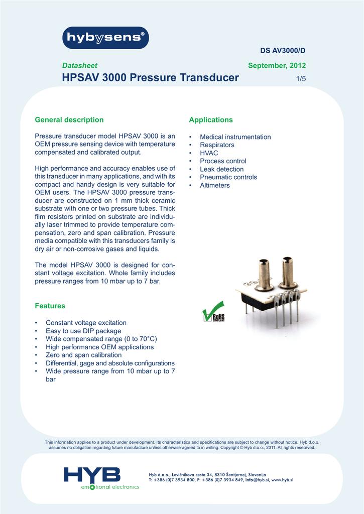 HPSAV 3000 Pressure Transducer