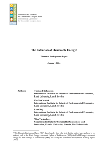 The Potentials of Renewable Energy