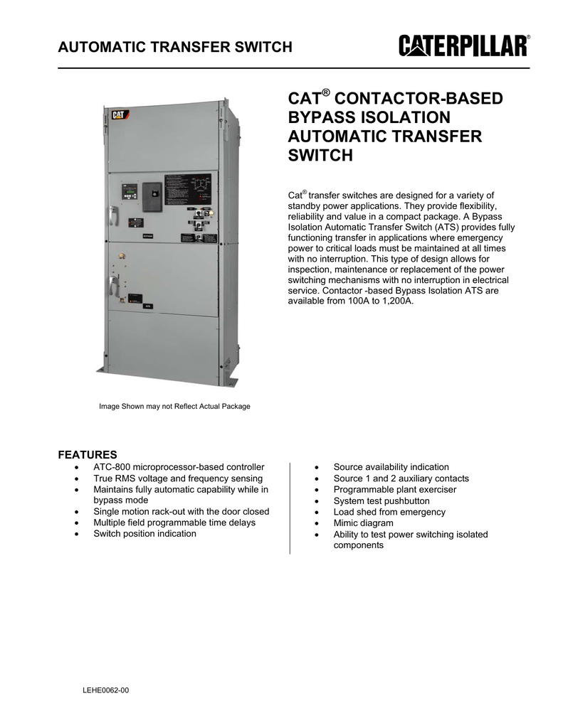 cat contactor-based byp isolation automatic transfer switch on