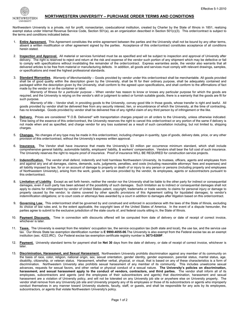 2c3518aec06c NORTHWESTERN UNIVERSITY – PURCHASE ORDER TERMS