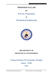 B.Tech. Programme Mechanical Engineering
