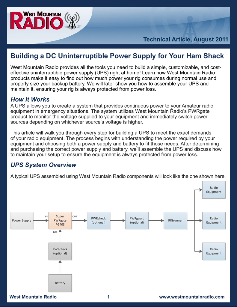 Building a DC Uninterruptible Power Supply for Your Ham