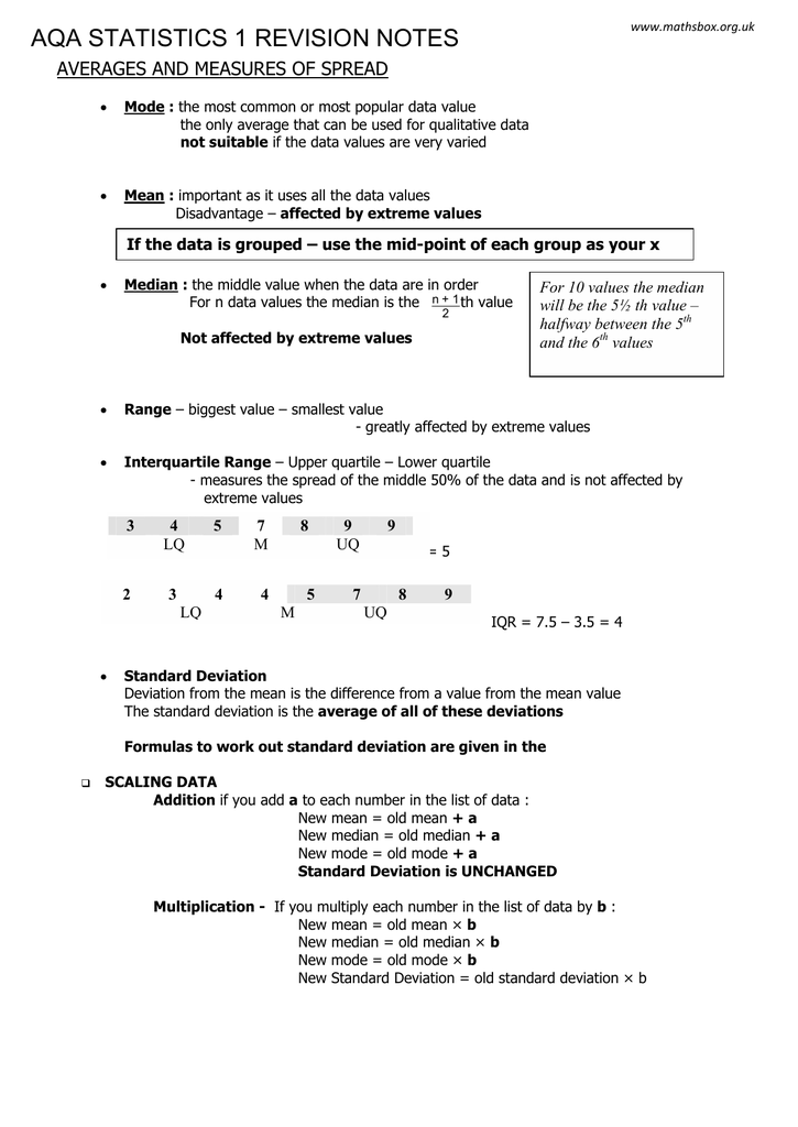 Data Set In Math: Definition & Examples Aqa Statistics 1 Revision Notes