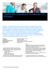 Quality and Operational Excellence (QO) Manager