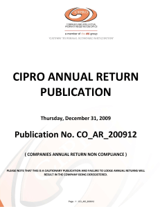 CIPRO ANNUAL RETURN PUBLICATION