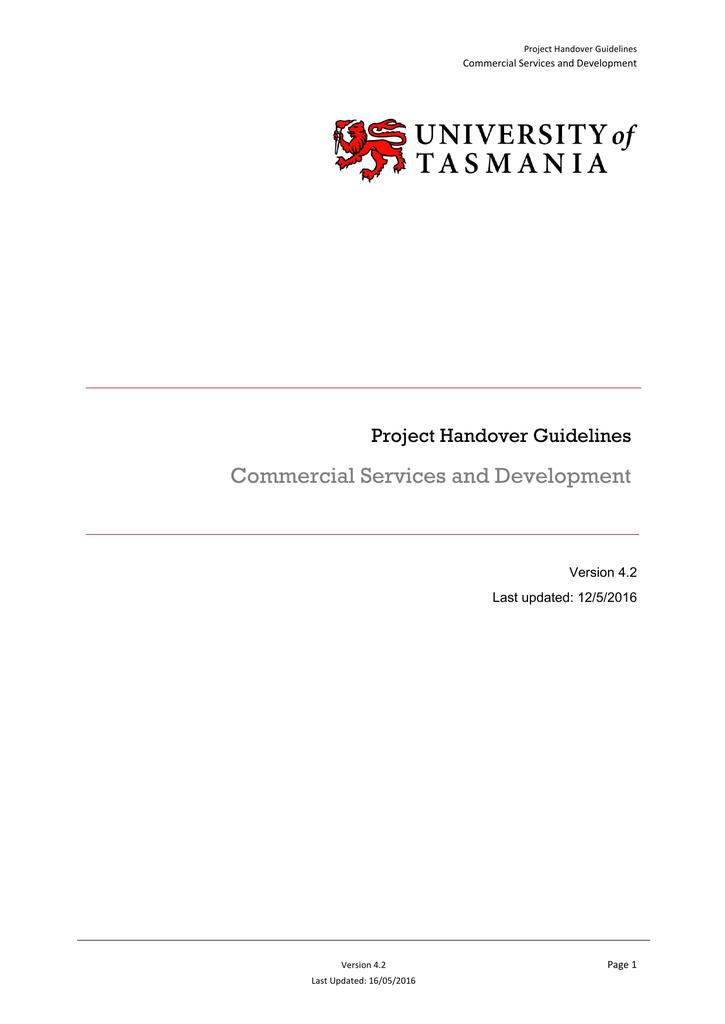 project handover guidelines rh studylib net Project Handover Template Project Handover to Operations