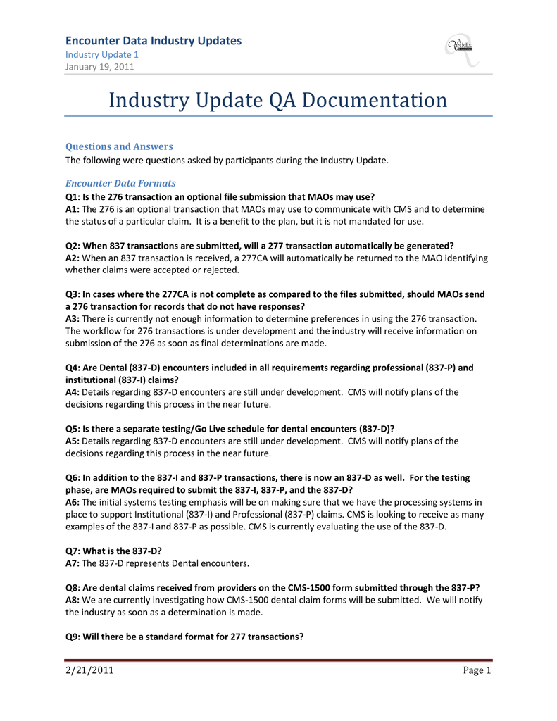 Encounter Data Industry Updates