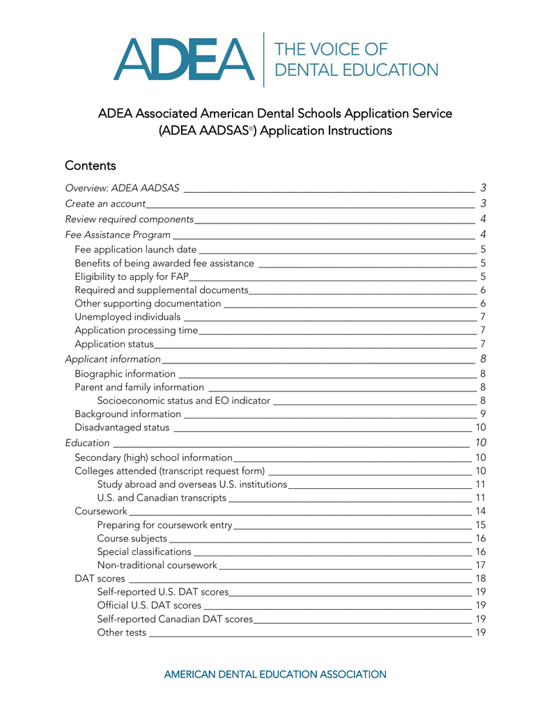 ADEA AADSAS application instructions