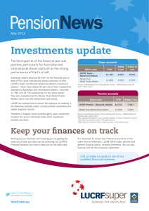 Transition Pension News - May 2013