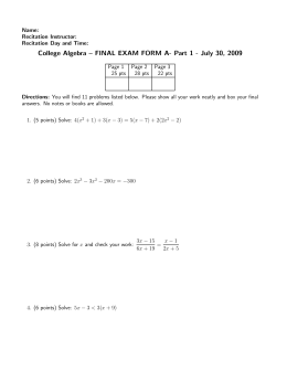 College Algebra – FINAL EXAM FORM A- Part 1