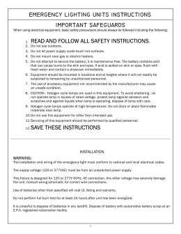 EMERGENCY LIGHTING UNITS INSTRUCTIONS - Dual-Lite