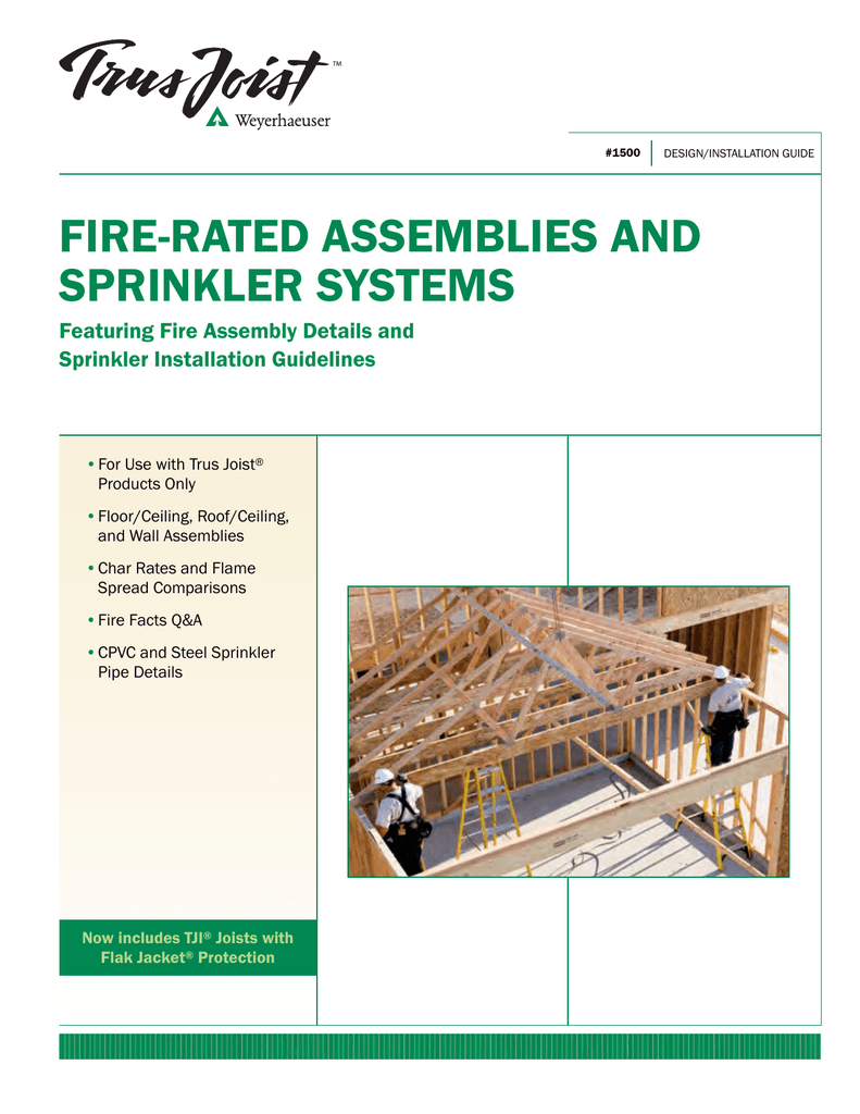 Trus Joist Fire Rated Assemblies And Sprinkler