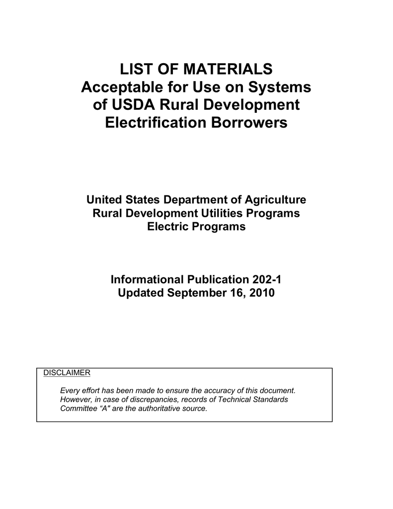 LIST OF MATERIALS Acceptable for Use on
