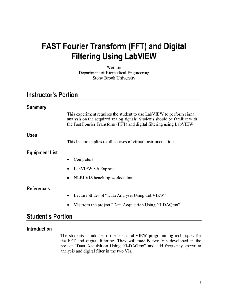 FAST Fourier Transform (FFT) and Digital Filtering Using LabVIEW