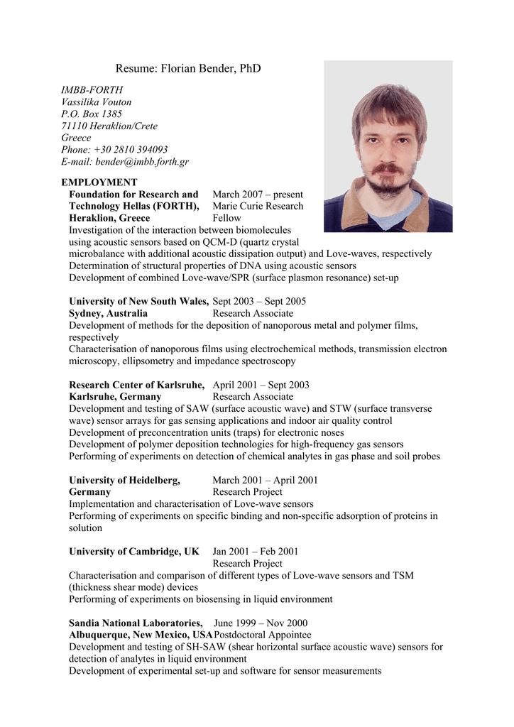 Resume: Florian Bender, PhD