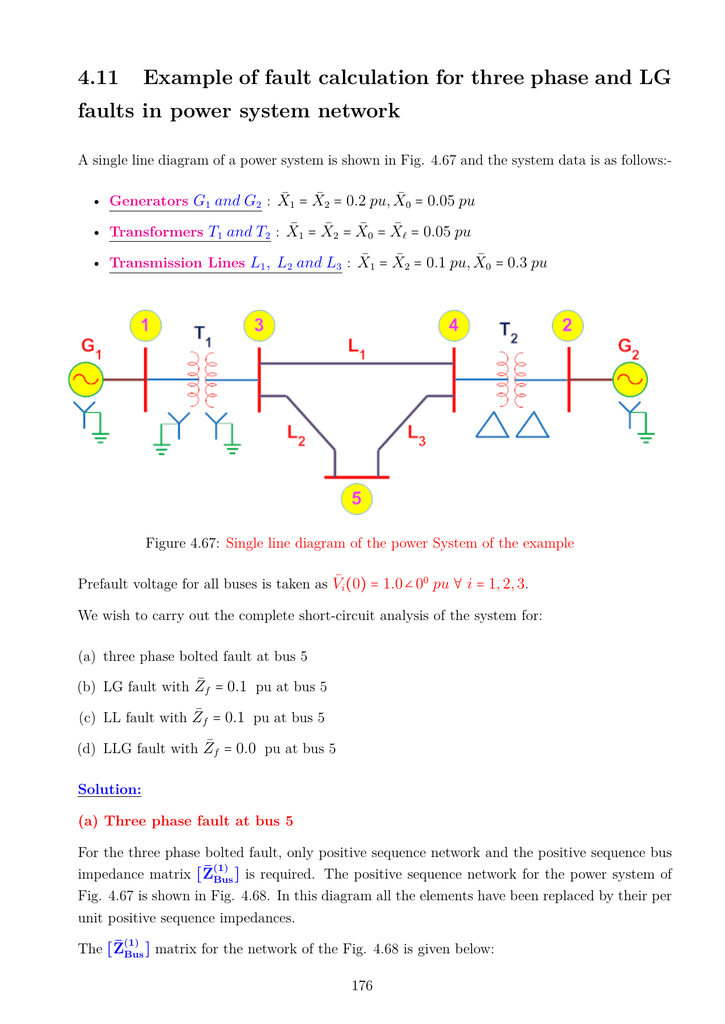 4 11 Example of fault calculation for three phase and LG