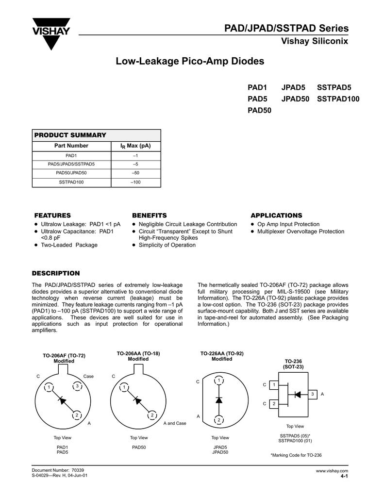 PAD/JPAD/SSTPAD Series Low-Leakage Pico-Amp Diodes