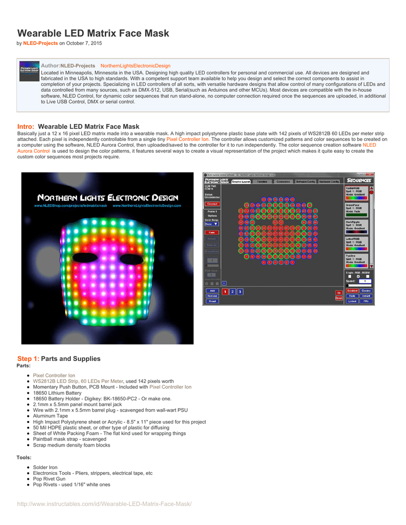 Instructables com - Wearable LED Matrix Face Mask
