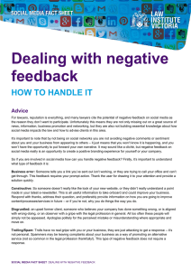 Dealing with negative feedback HOW TO HANDLE IT