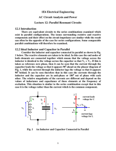 Lecture 12 Parallel Resonant Circuits