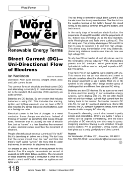 Direct Current (DC)— Uni-Directional Flow of Electrons Renewable