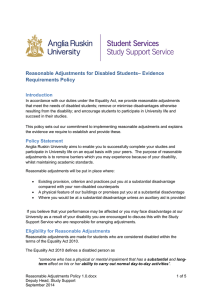 Reasonable Adjustments for Disabled Students– Evidence