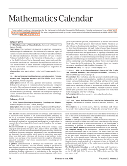 Mathematics Calendar - American Mathematical Society