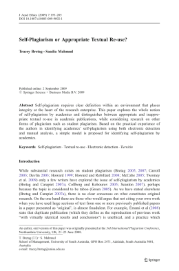 Self-Plagiarism or Appropriate Textual Re-use?
