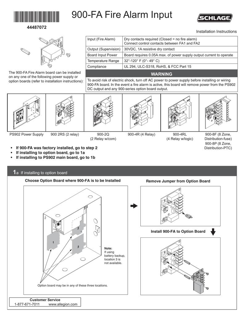ps900 fa fire alarm input installation instructions rh studylib net