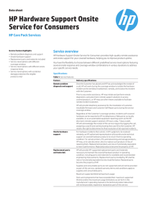 HP Hardware Support Onsite Service for Consumers data