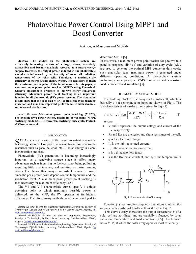 Photovoltaic Power Control Using MPPT and Boost Converter