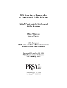 2006 Atlas Award Presentation on International Public Relations