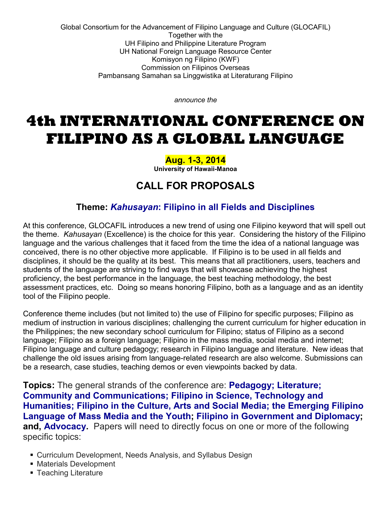 4th INTERNATIONAL CONFERENCE ON FILIPINO AS A GLOBAL