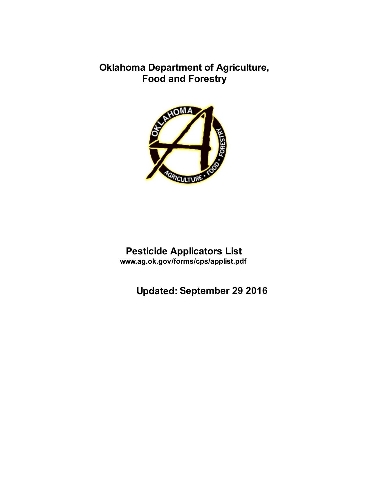 Pesticide Applicators List
