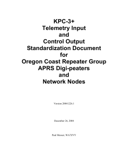 KPC-3+ Telemetry Input and Control Output Standardization