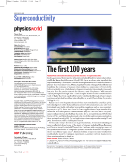 Superconductivity 100 years - Department of Physics and Astronomy