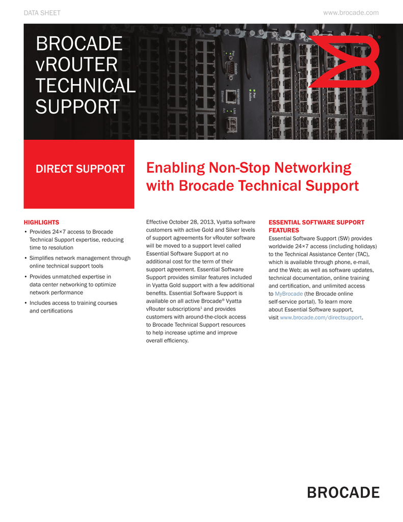 Brocade Vrouter Technical Support Data Sheet