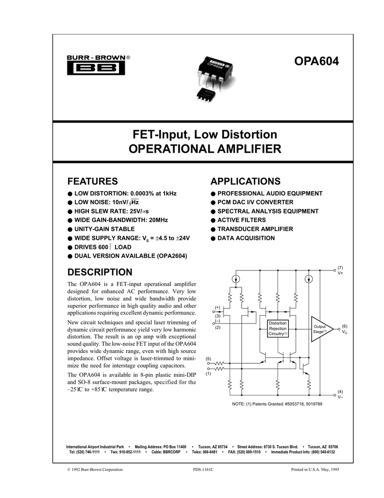 Opa604 Pdf Active Operational Amplifier Notch Filter Circuit The Is Quite