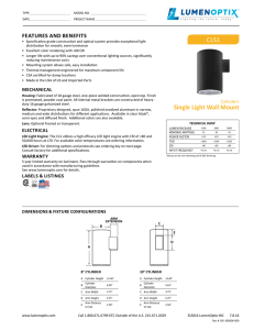 CLS® Cylinder Single Light Wall Mount Spec Sheet