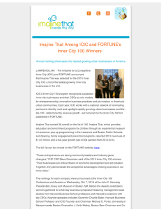 Imajine That Among ICIC and FORTUNE`s Inner City 100 Winners