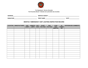 MONTHLY EMERGENCY UNIT LIGHTING INSPECTION RECORD