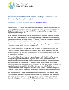 Professionalism and Personal Conduct