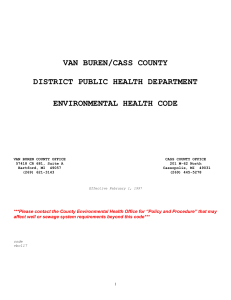 Environmental Health Code - Van Buren/Cass District Health